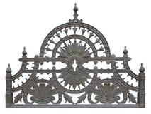 Vecchio recinto decorativo metallico forgiato della grata isolato sopra bianco fotografie stock libere da diritti