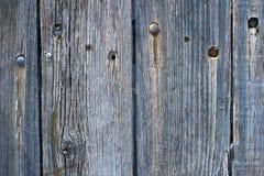 Vecchio recinto di legno stagionato macchiato blu Fotografie Stock Libere da Diritti