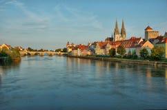 Vecchio Regensburg, Baviera, Germania, Hdr Fotografia Stock