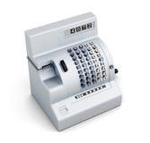 Vecchio registratore di cassa isolato su fondo bianco 3d rendono i cilindri di image Immagini Stock