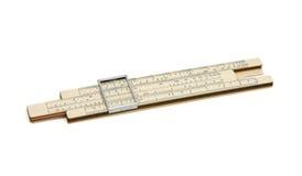 Vecchio regolo calcolatore della casella isolato immagine stock