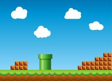 Vecchio retro fondo del video gioco Retro paesaggio classico di progettazione del gioco di stile illustrazione di stock