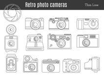 Vecchio retro insieme della macchina fotografica della foto illustrazione di stock