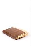 Vecchio retro libro della copertura di ricetta delle nonne sopra fondo bianco Fotografie Stock