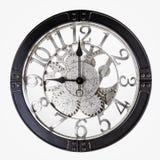 Vecchio retro orologio su un fondo bianco fotografie stock