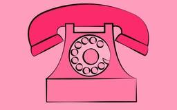 Vecchio retro telefono antico d'annata fisso rosa dei pantaloni a vita bassa con la presa d'aria e disco su un fondo rosa Fotografia Stock