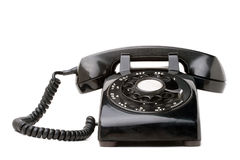 Vecchio retro telefono nero Fotografia Stock