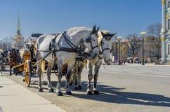 Vecchio retro trasporto davanti al Museo dell'Ermitage del palazzo di inverno sul quadrato del palazzo a St Petersburg, Russia Ve immagine stock