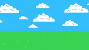 Vecchio retro video gioco Arcade Clouds Moving su un cielo blu e su un'erba royalty illustrazione gratis