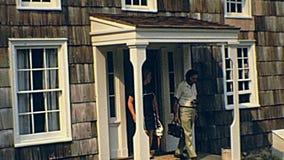 Vecchio ripristino del villaggio di Bethpage archivi video