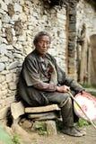 Vecchio ritratto tibetano dell'uomo Immagine Stock