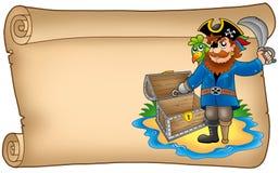 Vecchio rotolo con il pirata Immagine Stock Libera da Diritti