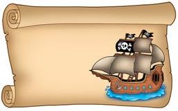 Vecchio rotolo con la nave di pirata Immagini Stock