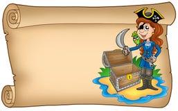 Vecchio rotolo con la ragazza del pirata Immagini Stock Libere da Diritti