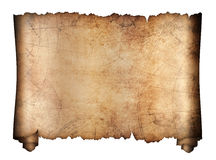 Vecchio rotolo della mappa del tesoro isolato Immagine Stock