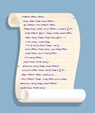 Vecchio rotolo di carta acciambellato con scrittura falsa Immagine Stock