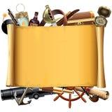 Vecchio rotolo di vettore con gli accessori del pirata royalty illustrazione gratis
