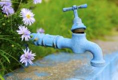 Vecchio rubinetto blu Fotografie Stock Libere da Diritti