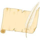 Vecchio rullo di carta con la piuma Fotografie Stock Libere da Diritti