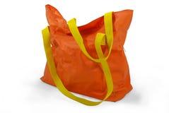 Vecchio sacchetto di acquisto arancione Fotografia Stock Libera da Diritti