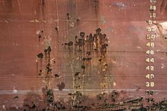 Vecchio scafo di nave con i numeri fotografia stock libera da diritti