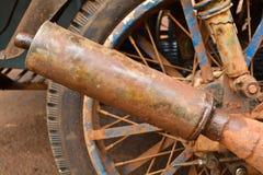 Vecchio scarico del motociclo Immagini Stock