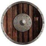 Vecchio schermo di legno del Vichingo isolato Immagine Stock