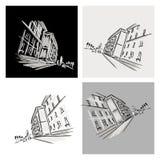 Vecchio schizzo del distretto con la strada di città per la vostra progettazione Immagini Stock Libere da Diritti