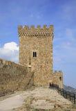 Vecchio secolo genovese della fortezza XI in Sudak crimea l'ucraina immagine stock libera da diritti