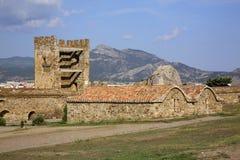 Vecchio secolo genovese della fortezza XI in Sudak crimea l'ucraina fotografie stock libere da diritti