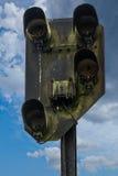 Vecchio segnale ferroviario arrugginito Fotografie Stock Libere da Diritti