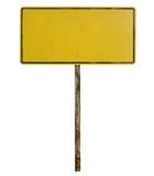 Vecchio segnale stradale in bianco Fotografia Stock