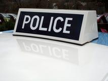Vecchio segno britannico del tetto del volante della polizia Fotografia Stock