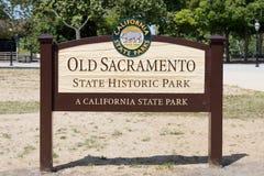 Vecchio segno del parco di stato di Sacramento Fotografia Stock Libera da Diritti