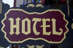 Vecchio segno dell'hotel Fotografia Stock Libera da Diritti