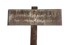 Vecchio segno di legno sbiadetto isolato su bianco Immagine Stock
