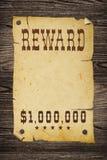 Vecchio segno occidentale della ricompensa. Fotografia Stock Libera da Diritti