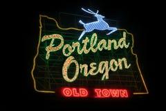 Vecchio segno storico della città di Portland Oregon Immagini Stock