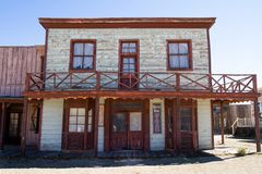 Vecchio set cinematografico della città di selvaggi West in Arizona fotografie stock