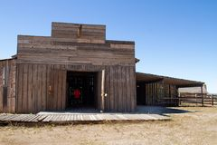 Vecchio set cinematografico della città di selvaggi West in Arizona fotografie stock libere da diritti