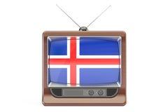 Vecchio set televisivo con la bandiera dell'Islanda Concetto islandese della televisione, 3 Immagini Stock Libere da Diritti