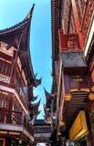 Vecchio Shanghai alloggia i tetti Yuyuan Cina di rosso Fotografie Stock