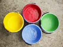 Vecchio silkscreen contenente di colore. Immagine Stock