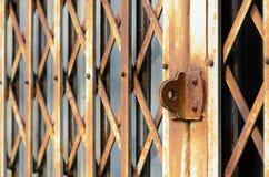 Vecchio stile d'annata piegante delle porte d'acciaio Fotografia Stock Libera da Diritti