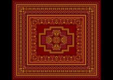 Vecchio stile del tappeto luminoso nel rosso e nelle tonalità di Borgogna Fotografia Stock