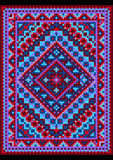 Vecchio stile del tappeto vivo in tonalità blu e porpora Immagine Stock
