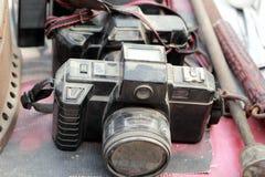 Vecchio stile dell'annata del nero della macchina fotografica. Fotografia Stock