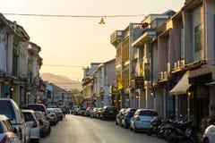 Vecchio stile portoghese di costruzione di Chino nella città di Phuket Immagini Stock Libere da Diritti