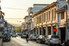Vecchio stile portoghese di costruzione di Chino a Phuket Fotografia Stock Libera da Diritti