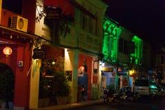 Vecchio stile portoghese di costruzione di Chino, via della città di Phuket Fotografia Stock Libera da Diritti